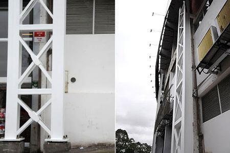 Cinco pilares de sustentação da cobertura já foram instalados no Beira-Rio