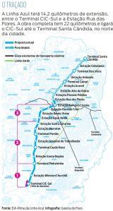 traçado do projeto do metrô de curitiba - linha azul