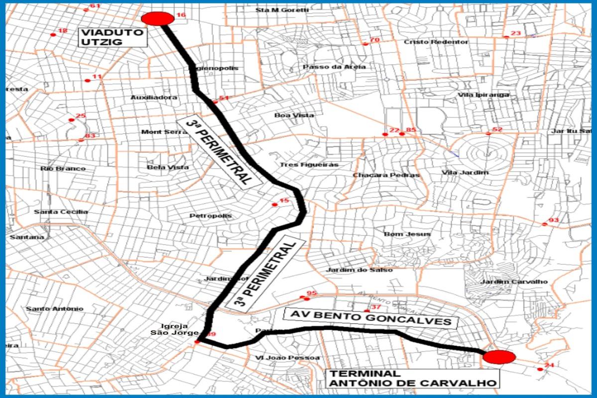 Linha sairá da Antônio de Carvalho em trajeto de 21,2 quilômetros de ida e voltaFoto: Divulgação/PMPA