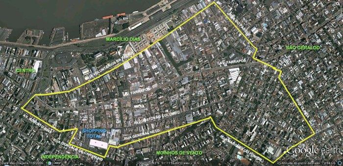 Em amarelo, os limites do Bairro Floresta, segundo o mapa oficial da prefeitura.