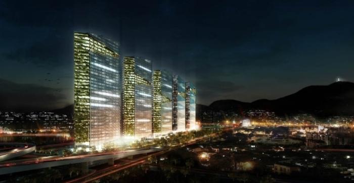 O projeto terá cinco torres de 150 metros de altura, 38 andares, e será construído em um terreno de 32 mil metros quadrados na zona portuária do Rio de Janeiro Divulgação