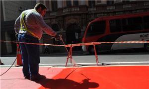 Ciclovia no Centro da Capital recebe pintura  Foto: Vinícius Roratto