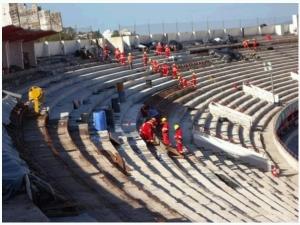 Beira-Rio agora se concentra nos trabalhos na arquibancada superior (crédito: Internacional/Divulgação)
