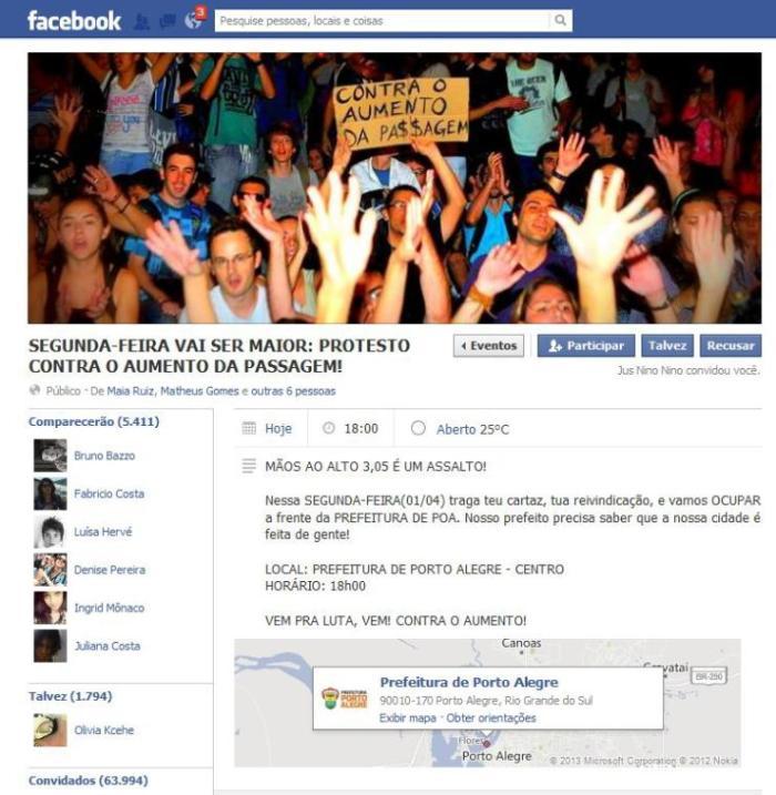 Evento criado no Facebook convoca internautas para o protesto   Reprodução / CP