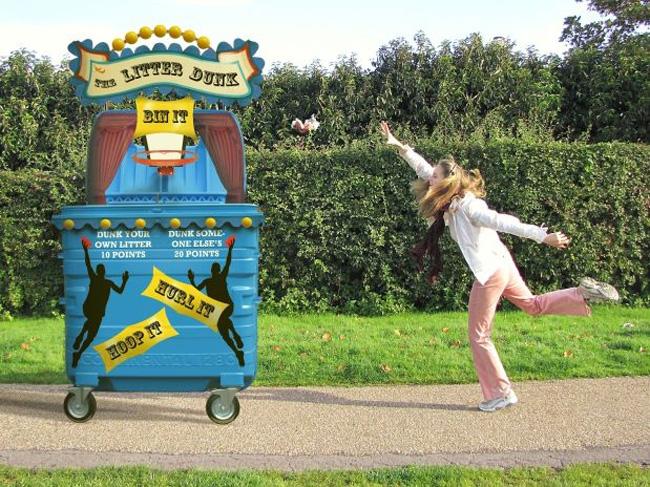 Lixeira divertida interage com quem joga o lixo. (Foto: reprodução Super Interessante)