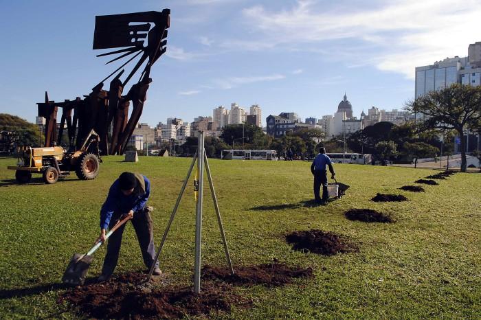 Divisão de Conservação e Manutenção da Smam iniciou a colocação de tela.  Foto: Sérgio Louruz/Divulgação PMPA