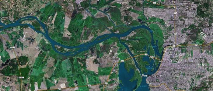 Rio Jacuí, que desemboca no Guaíba. Imagem Google Maps