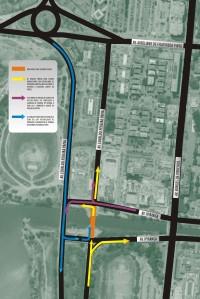 Mapa mostra esquema de trânsito no local