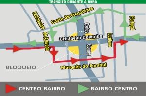 Desvios serão feitos pelas ruas Couto de Magalhães e Marquês do Pombal  Foto: Divulgação/PMPA