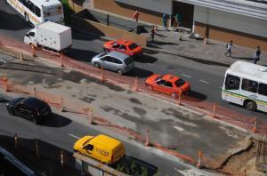 Um dos trechos que sofre intervenção fica na avenida Julio de Castilhos  Crédito: Vinícius Roratto