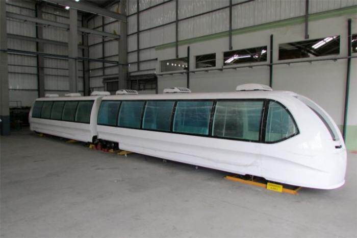 Modelo A200, vagão articulado com capacidade para 300 pessoas, está 84% concluído Crédito: TTrans/Divulgação CP