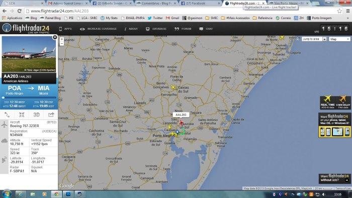 flight-radar-voo-aal203-poa-miami