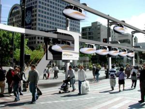 Imagem mostra como o Skytran ficará na cidade créditos: Divulgação