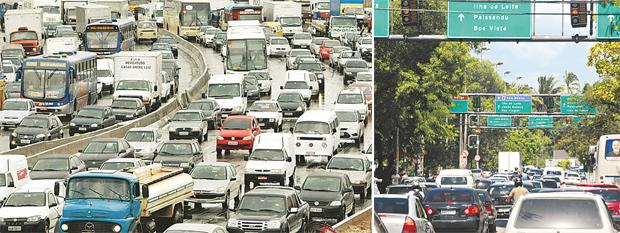 Trânsito congestionado em São Paulo e Recife créditos: Divulgação