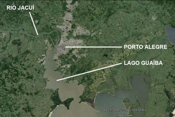 Porto Alegre e o Guaíba. Imagem: Google Earth