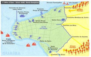 Mapa dos Ataques dos Farrapos a Porto Alegre. 1º sítio (junho até setembro de 1836)