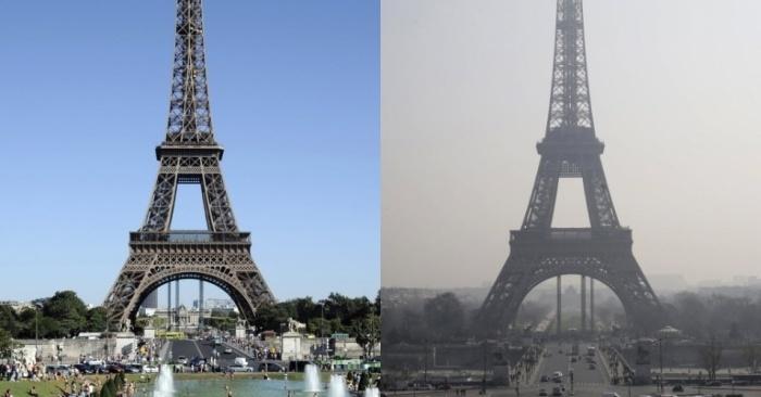 Torre Eiffel em duas fotos: março/2012 (esq.) e em 12/3/2014 créditos: AFP
