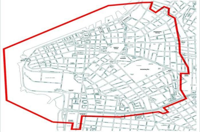 Mapa mostra a área da cidade onde ocorre o teste nas sinaleiras | Foto: Divulgação / PMPA