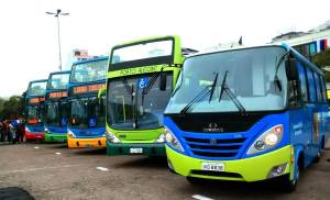 A frota de ônibus da Linha Turismo. Foto: Luiz Fernando Moraes - Secretário de Turismo