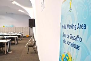 Instalações de imprensa estão em funcionamento no Beira-Rio  Crédito: Bernardo Bercht/Especial CP