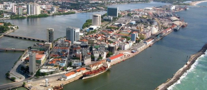 Imagem aérea do bairro do Recife Antigo, onde fica o Porto Digital - Divulgação