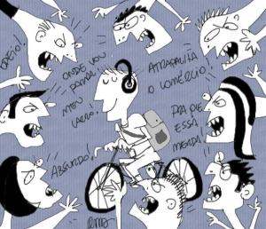 Na charge do dia, Reynaldo Berto mostra o ciclista tranquilo com as críticas