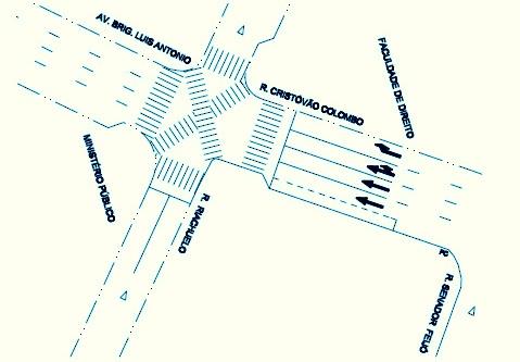 Projeto da nova faixa de pedestres em São Paulo