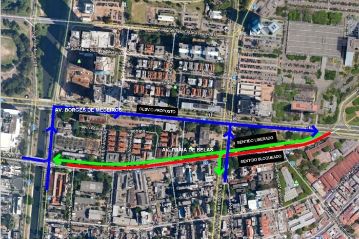 Avenida Borges de Medeiros será a principal alternativa para desvio Imagem: Divulgação/PMPA