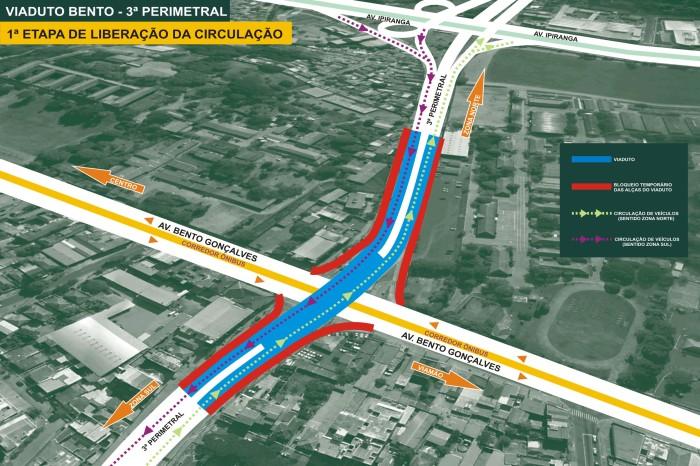 Viaduto terá extensão total de 540 metros, com seis faixas de tráfego Foto: Divulgação/PMPA