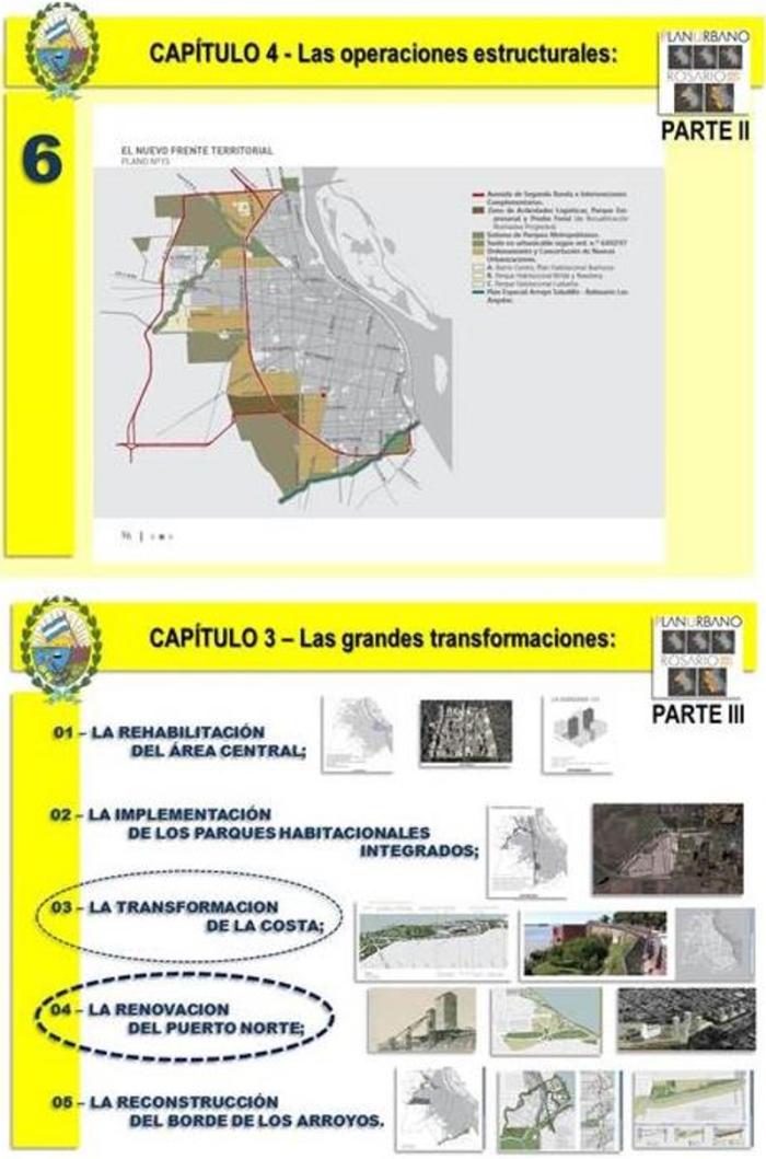 """Figura 12 - O conjunto de intervenções mapeadas sobre o território da cidade caracteriza a atual condução urbanística de Rosario como um """"PROJETO DE CIDADE""""."""