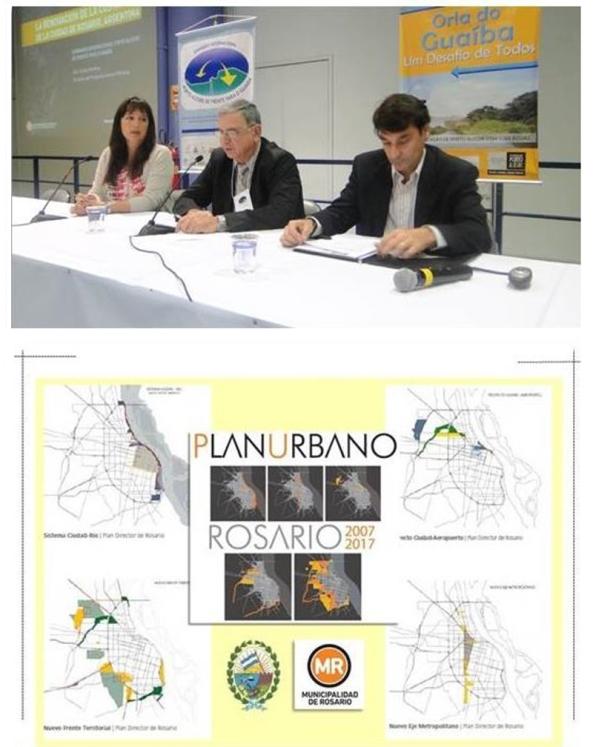 """Figura 6 – Acima, mesa do Seminário Internacional Porto Alegre de Frente para o Guaíba, promovido pelo GT ORLA / SPM / PMPA em outubro de 2010 como evento principal do intercâmbio referido na figura 4. Abaixo imagem alusiva às estruturas de Planejamento e Gestão Urbana de Rosario, que classifica a conversão da sua orla em sistema qualificado de espaços públicos como uma """"OPERAÇÃO ESTRUTURAL ESTRATÉGICA""""."""
