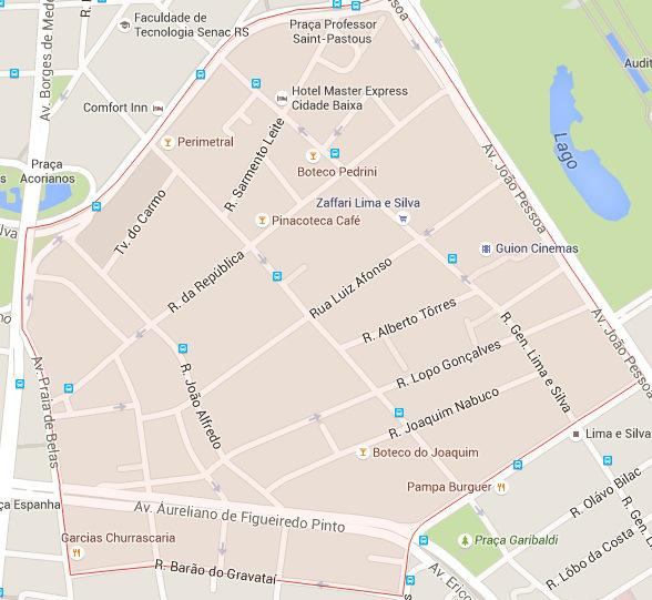 Delimitação do bairro, que agora é polo gastronômico | Foto: Reprodução/ Google Maps