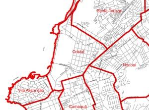 Limites oficiais do bairro Cristal. Fonte: mapa de bairros da prefeitura de Porto Alegre