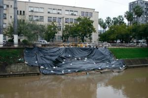 DEP instala lona em talude do Arroio Dilúvio | Foto: Betina Carcuchinsk / PMPA / CP
