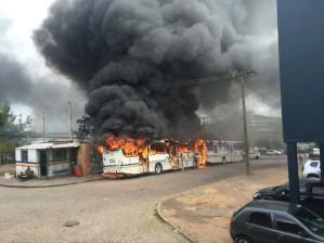 Ônibus pega foto no Morro Santa Tereza em Porto Alegre (Foto: Maria Polo/G1)