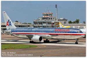 Boeing 767 American Airlines em Porto Alegre. Foto: José Arthur Eidt