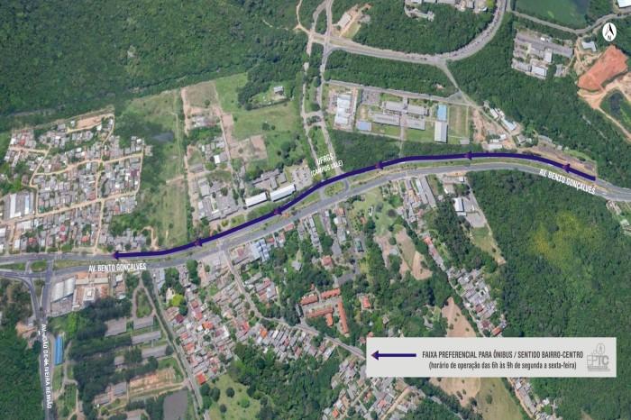 Faixa prioritária terá 1,1 quilômetro, com início na divisa com Viamão Foto: Divulgação/PMPA