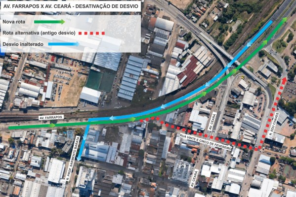 Pista Centro-bairro, entre as ruas Padre Diogo Feijó e Edu Chaves, ficará livre Foto: Divulgação/PMPA